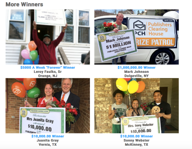 Publisher Clearing House Winners