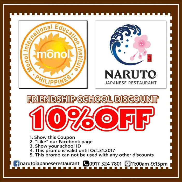 Naruto Restaurant Discount Coupon