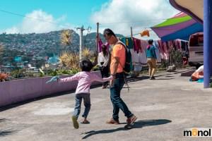 Little girl running around during playtime