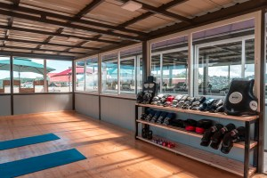 Yoga room with equipment and mat