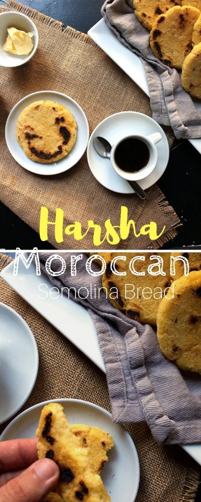 Moroccan Harcha Recipe   Easy 4 Ingredients Semolina bread that you can make under 15 minutes. Good for vegans, non vegans and carbaholics of course.  Brokefoodies.com