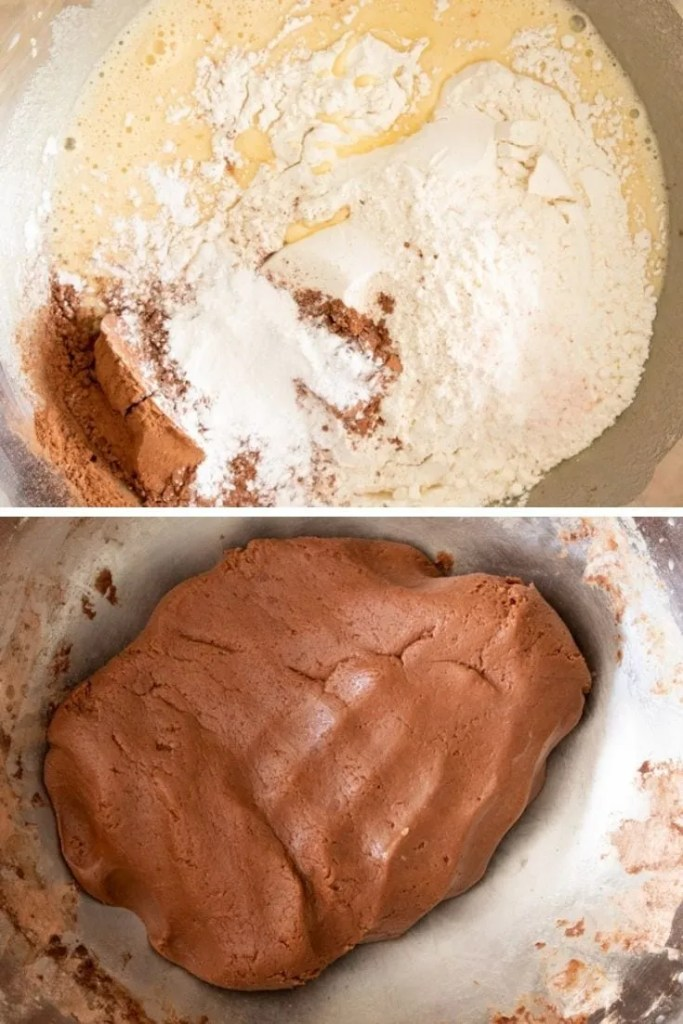 Adding flour and other dry ingredients to the mixing bowl