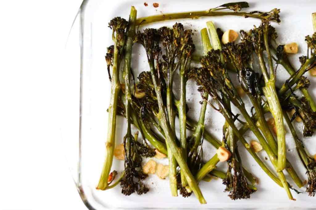 close up of roasted tenderstem broccoli