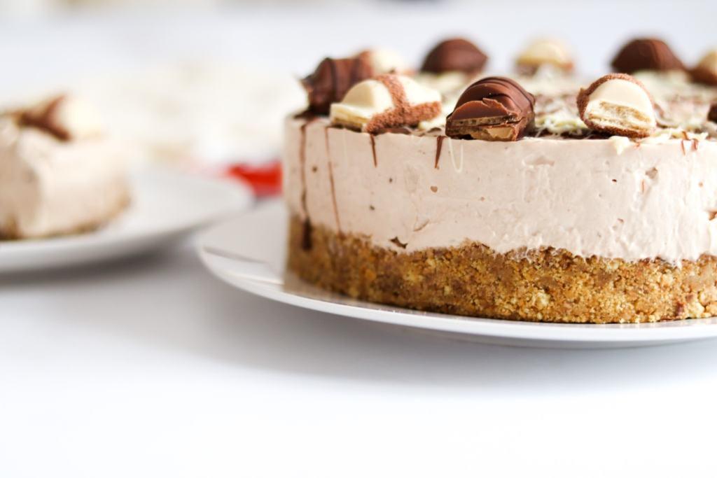 Close up shot of my homemade Kinder Bueno cheesecake.