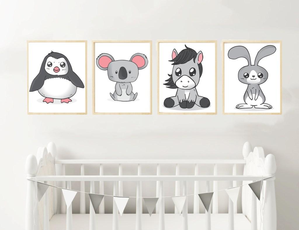 6 Printable Animal Prints For Nursery| Kid's Room | Wall Art