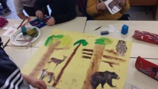 Realizando los murales: La forêt