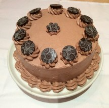 Chocolate cake with handmade decorations.