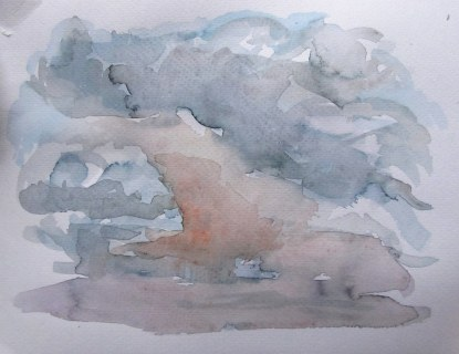 Stormy sky at dusk, July 25, 2011, watercolour on paper