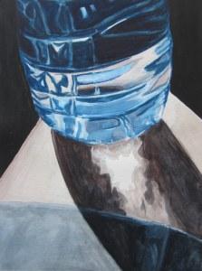 Water Bottle on Knee, July 2012, watercolour on paper