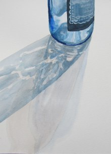 Blue bottle with shadows, Aug. 15, 2012 watercolour on paper 9 x 12