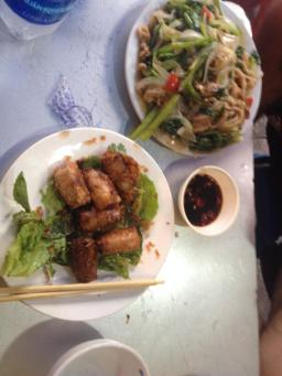 Noodles and Spring Rolls with Soy Sauce