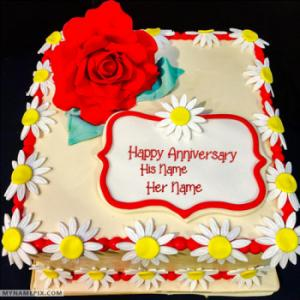 Happy Wedding Anniversary Cakes With Name Edit The Cake Boutique