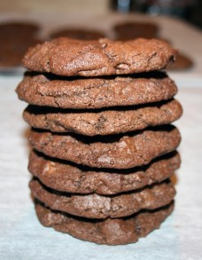 Stacked Triple Chocolate Chip cookies