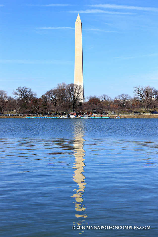 Washington Monument reflected on Tidal Basin