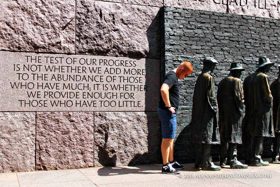 Unemployment line at FDR Memorial, Washington, D.C.