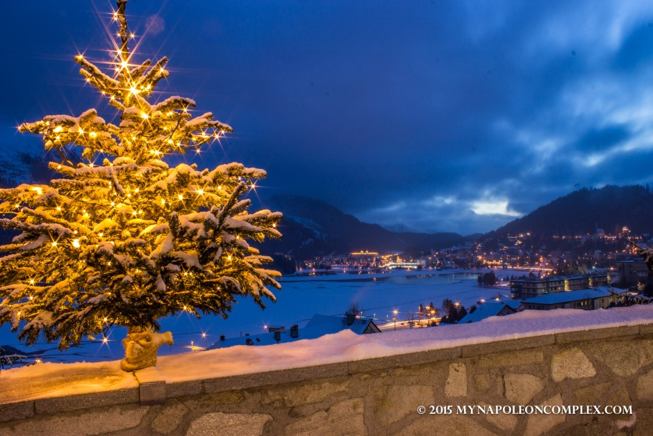 Picture of St. Moritz, Switzerland, at twilight.