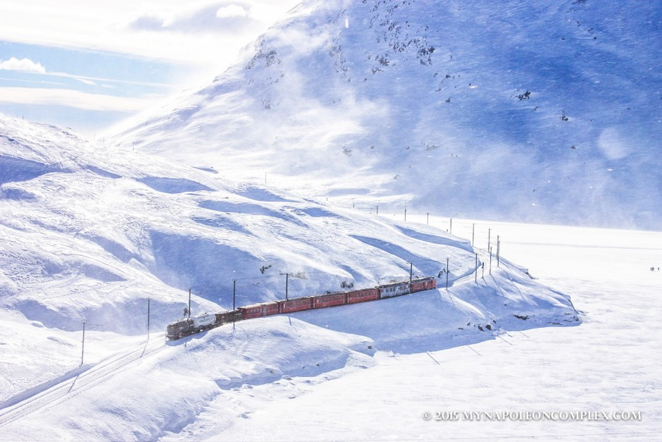 Picture of Rhaetian Railway along the Bernina Pass, Switzerland.