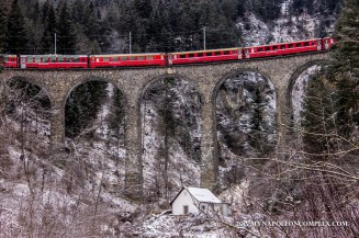 Picture of the Rhaetian Railway over the Landwasser Viaduct