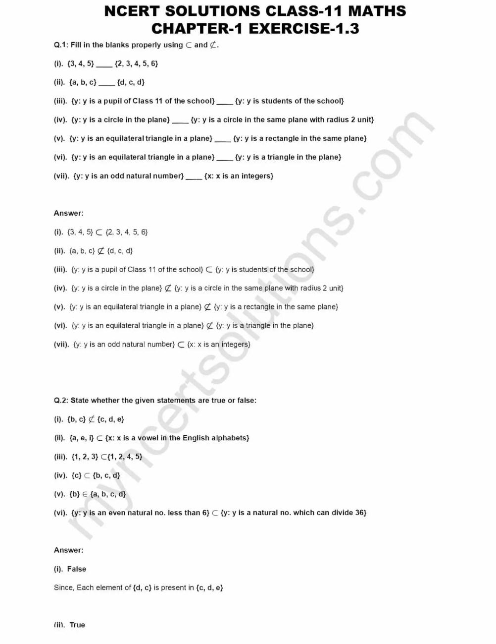 NCERT Solutions For Class 11 Maths Chapter 1 Ex 1 3