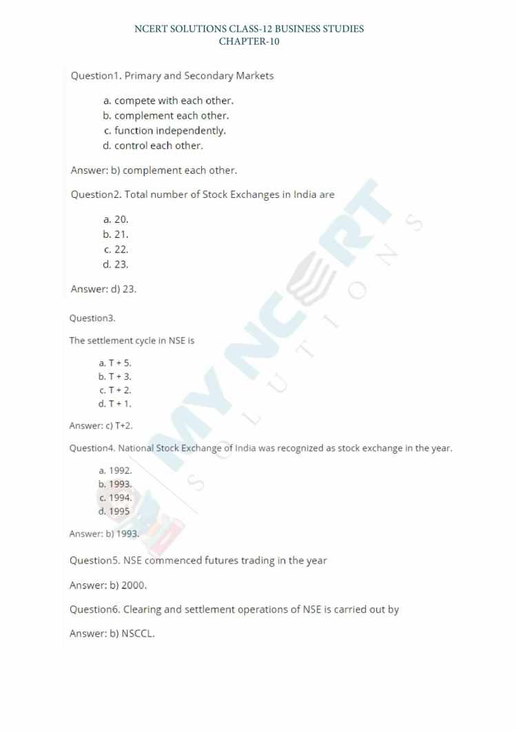 NCERT Solutions For Class 12 Business Studies Chapter 10