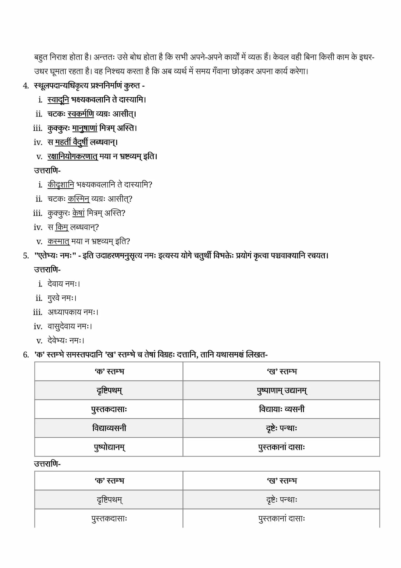NCERT Solutions For Class 9 Sanskrit Shemushi Chapter 6