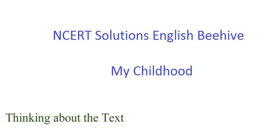 ncert solutions for class 9 english chapter 11 beehive my childhood 1