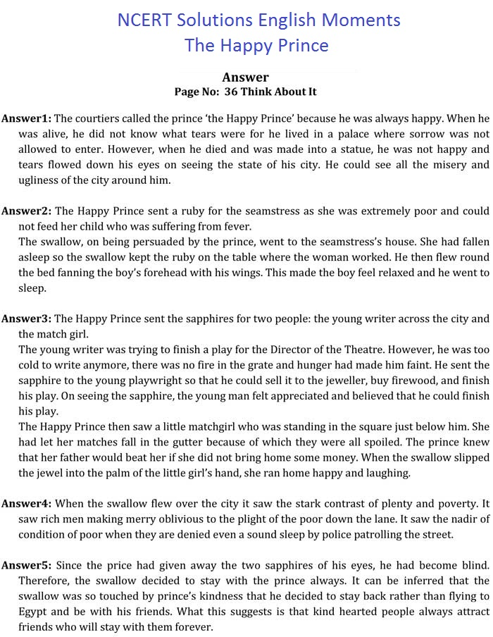 NCERT Solutions For Class 9 English Moments Chapter 5