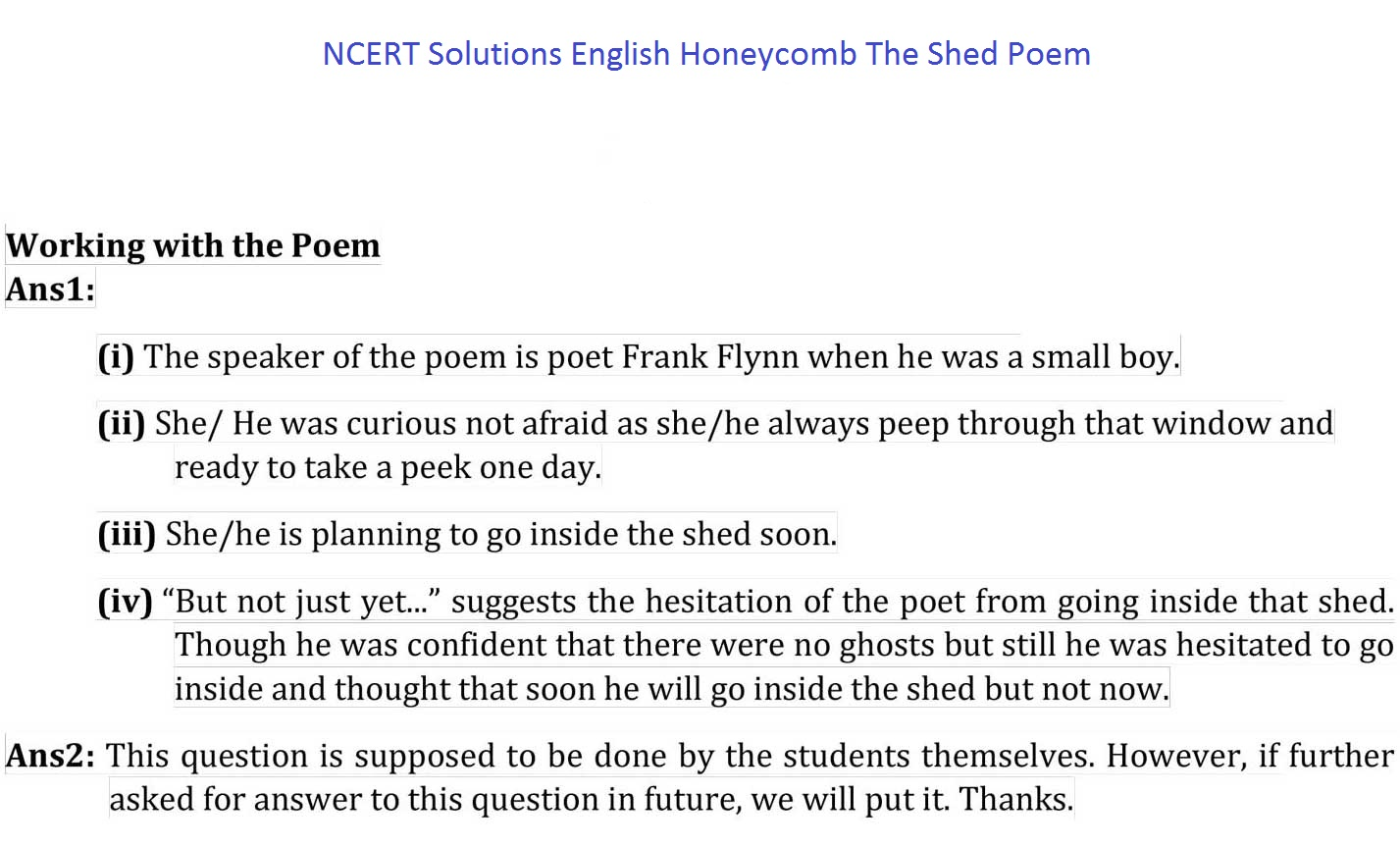 NCERT Solutions For Class 7 English Honeycomb Chapter 13