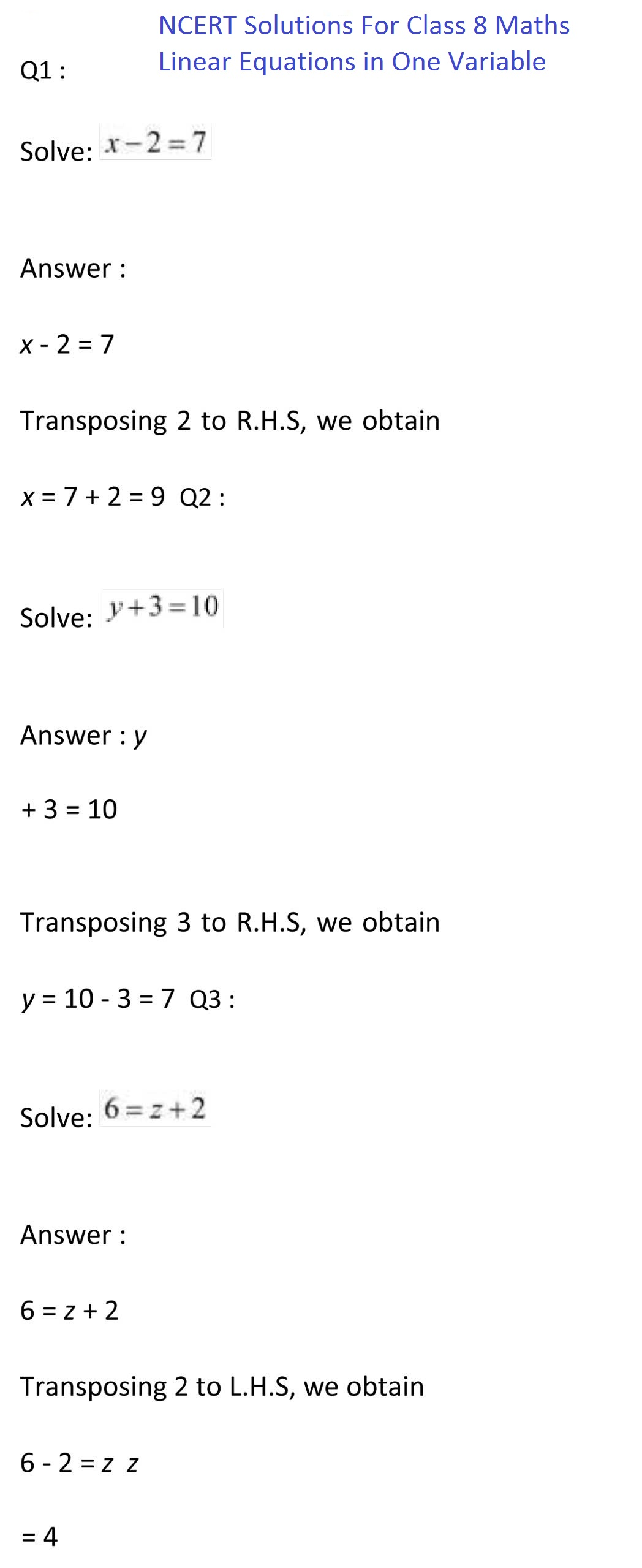 NCERT Solutions For Class 8 Maths Chapter 2 Linear Equation