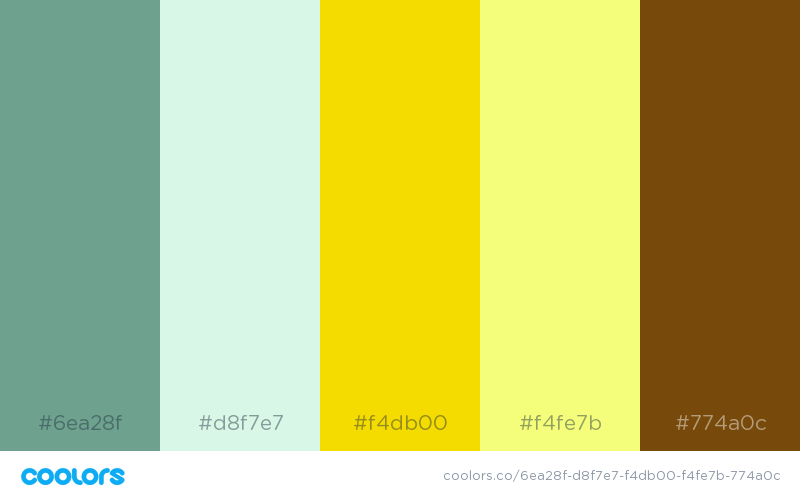 Analogous color palette using greens and yellows
