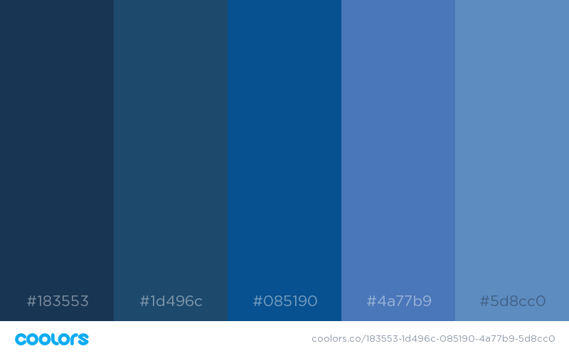 Monochromatic color palette of muted blue shades
