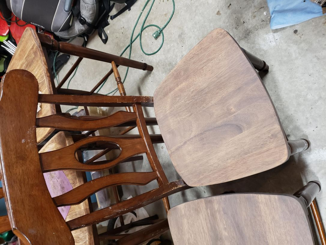 Wooden chairs stained and prepped for chalk paint