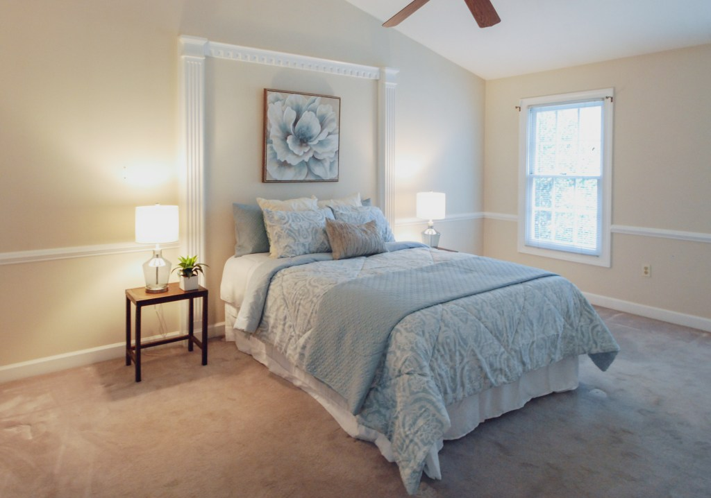 relaxing master bedroom in pale blues