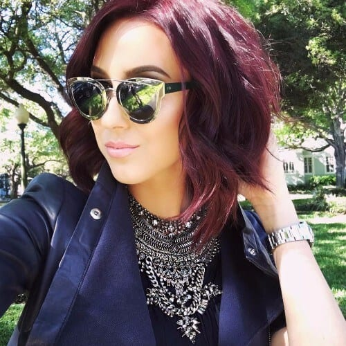 short hairstyle burgundy hair bob haircut