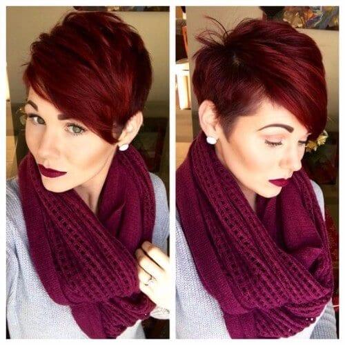 Burgundy Red Pixie Cut