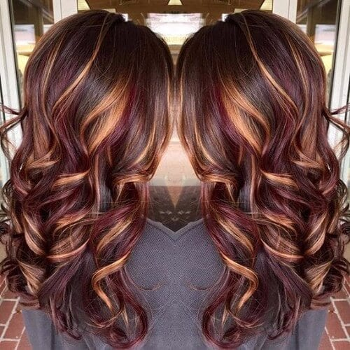 30 burgundy hair ideas for blonde red and brunette hair burgundy balayage blonde highlights wavy hair urmus