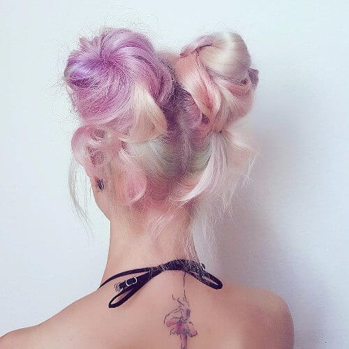pink blonde double buns