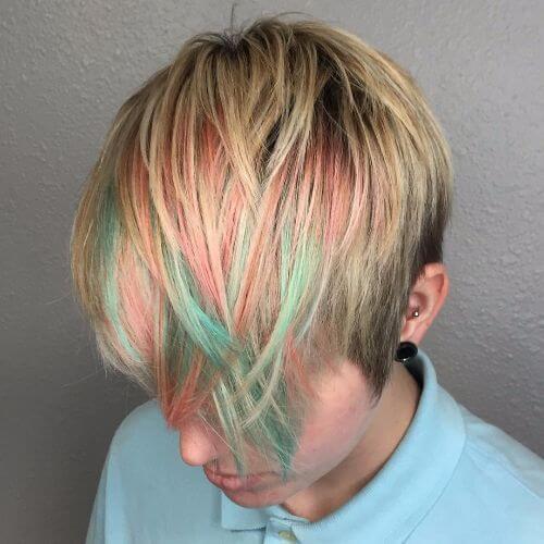 rainbow bangs pixie cut