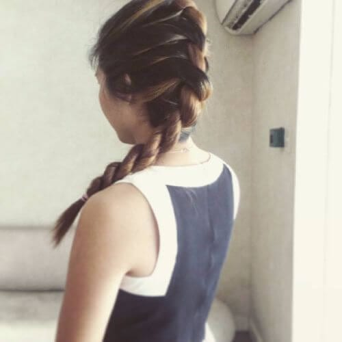 french twist long braided hairstyle