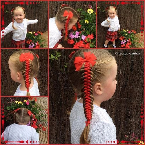 satin ribbon braided hairstyle for little girls