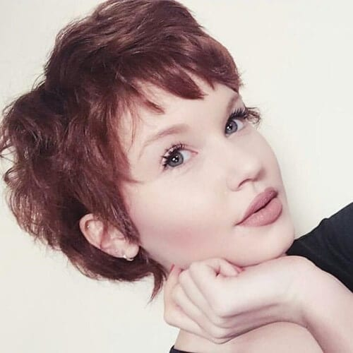 red pixie hair