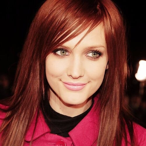 Ashlee Simpson red brown hair