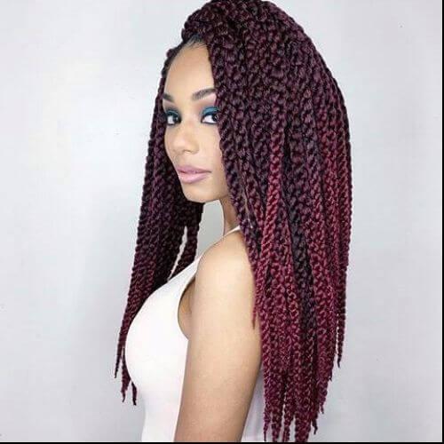 long burgundy box braids
