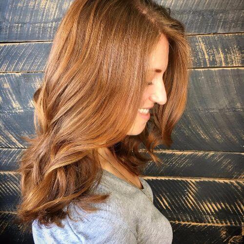 medium caramel hair color on long hair