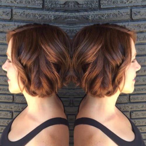 caramel hair color on short hair