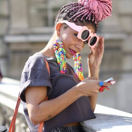 pink box braids bun