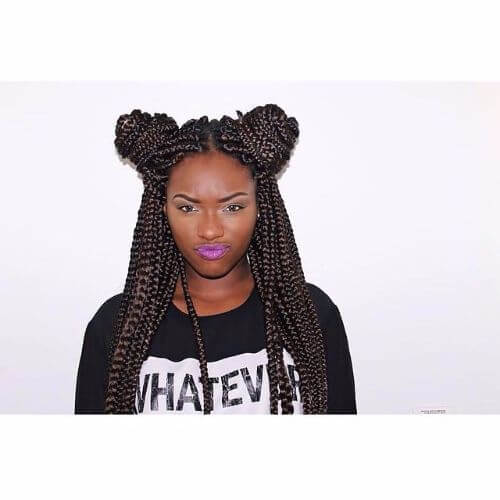 casual double bun box braids styles