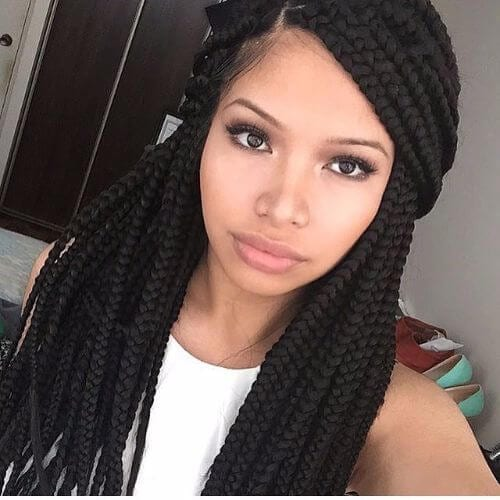 Deep Side Part Box Braided HalfdoDeep Side Part Box Braided Halfdo