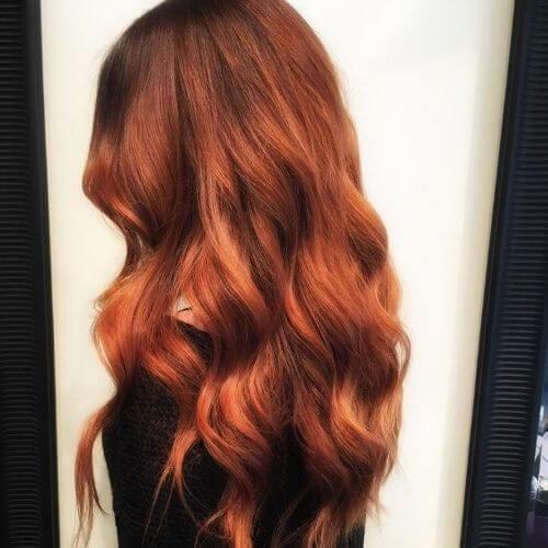 caramel bronze wavy hair