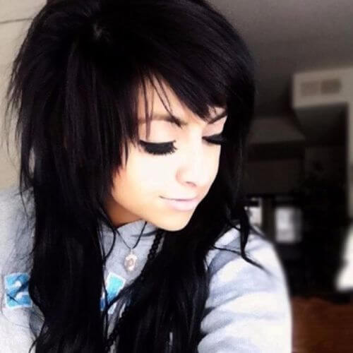 jet black emo hairstyles for girls